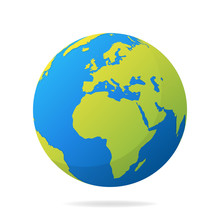 Earth Globe With Green Continents. Modern 3d World Map Concept. World Map Realistic Blue Ball Vector Illustration