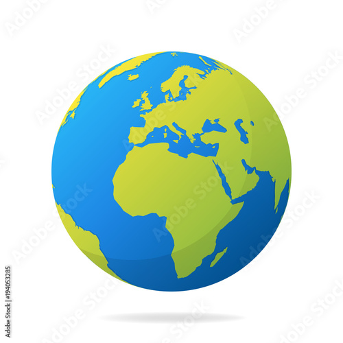 Earth globe with green continents modern 3d world map concept earth globe with green continents modern 3d world map concept world map realistic blue gumiabroncs Images
