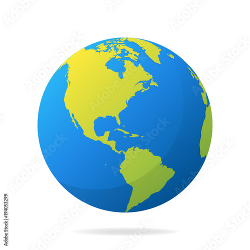 Earth globe with green continents modern 3d world map concept modern 3d world map concept world map realistic blue gumiabroncs Choice Image