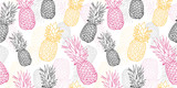 Vector yellow grey pink pineapple polka dot summer tropical seamless pattern background. Great as a textile print, party invitation or packaging. - 194054068