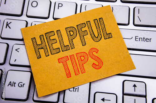 Fotografía  Conceptual hand writing text caption inspiration showing Helpful Tips