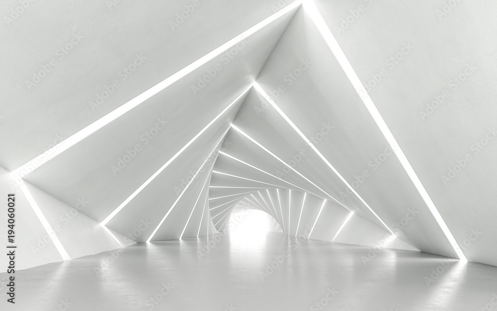 Fototapety, obrazy: Abstract white twisted corridor, 3d rendering
