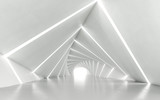 Fototapeta Przestrzenne - Abstract white twisted corridor, 3d rendering