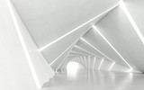 Fototapeta  - Abstract white twisted corridor, 3d rendering
