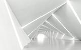 Fototapeta Do przedpokoju - Abstract white twisted corridor, 3d rendering