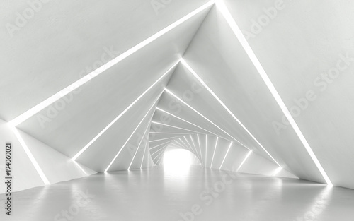 Stampa su Tela  Abstract white twisted corridor, 3d rendering