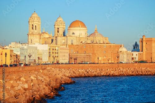 The Cadiz Cathedral (Catedral de Santa Cruz de Cádiz) just before sunset - Cadiz, Andalusia, Spain