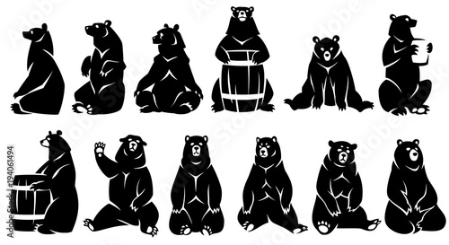 Photo  Decorative illustration sitting bears