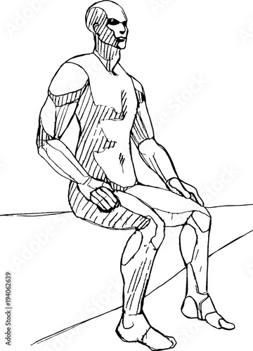 Sitting Male Figure Vector Sketch Life Drawing Anatomy Pose