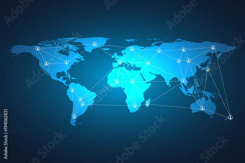 World map mesh and line as global business, composition concept. Vector Illustration. #194062831