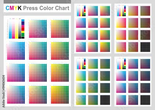 Cmyk Press Color Chart Vector Color Palette Cmyk Process Printing