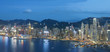 Panorama view of Victoria Harbor of Hong Kong city at dusk