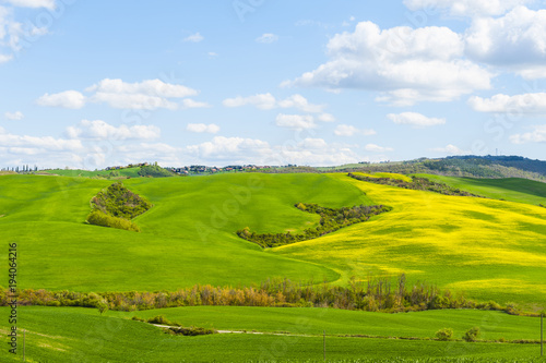 Fields, pastures and farmhouse