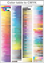 Color Table Pantone To CMYK. C...