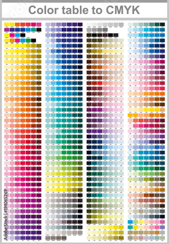 Color table Pantone to CMYK. Color print test page. Illustration ...