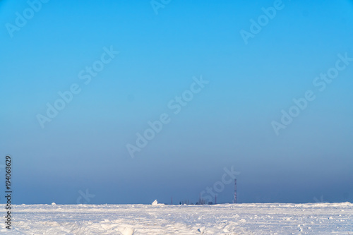 Foto op Aluminium Blauw Landscape with blue sky and snow