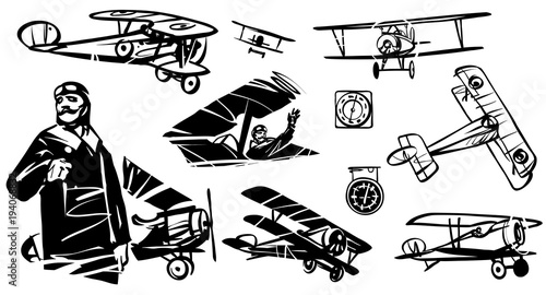 Set of illustrations biplane Canvas Print