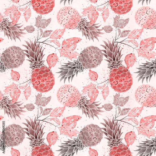 jednolite-wzor-owocow-kolorowe-ananasy-galazki-akwarela-na-jasnym-bezowym-tle