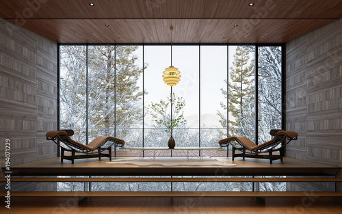 Valokuva  雪景色の見える別荘