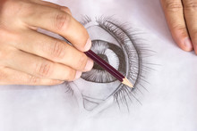 Drawing Eye With Pencil. Close...