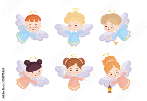 Photo Cute angels set in a cartoon style
