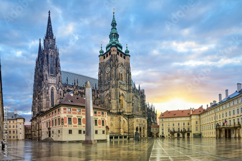 St. Vitus Cathedral in Prazsky Hrad complex in Prague, Czech Republic (HDR image)
