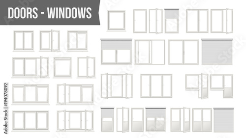 Plastic PVC Windows Doors Set Vector. Different Types. Roller Blind Shutters. Opened And Closed. Front View. Home Design Element. Isolated On White Background Realistic Illustration