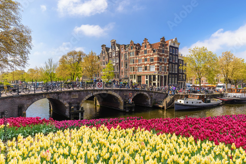 Photo Stands Amsterdam Amsterdam city skyline at canal waterfront with spring tulip flower, Amsterdam, Netherlands