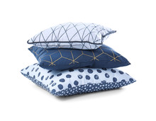 Stylish Pillows On White Backg...