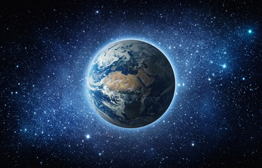 Panoramic view of the Earth, sun, star and galaxy. Sunrise over planet Earth, view from space. Elements of this image furnished by NASA