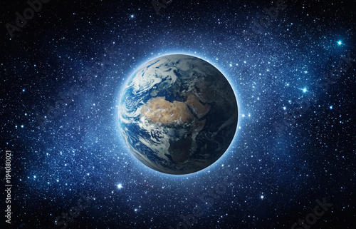 Fototapeta Panoramic view of the Earth, sun, star and galaxy. Sunrise over planet Earth, view from space. Elements of this image furnished by NASA obraz