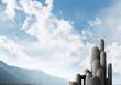 Multiple stone columns with breathtaking landscape