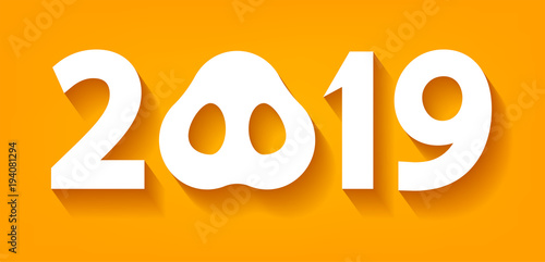 Vector 2019 Numbers With Zero As Pig Nose New Year Template For Calendar Page Or Greeting