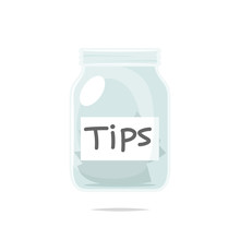 Tip Jar Cartoon Vector Isolated