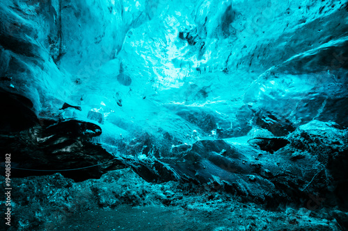 Foto auf AluDibond Turkis inside a frozen ice cave at iceland