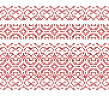 Cross Stitch Seamless Borders. Embroidered Ethnic Ornament. Vector Illustration.