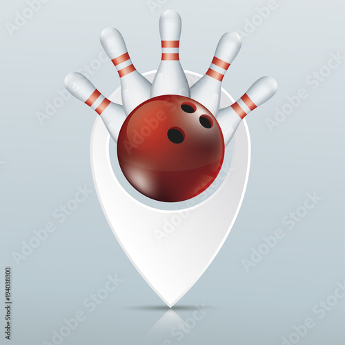 Bowling Pointer Pins Red Ball - Buy this stock vector and