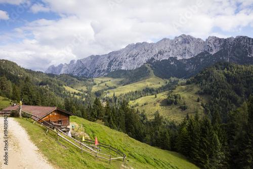 Plakat Austria, Tyrol, Kaisergebirge, Wilder Kaiser, Brentenjoch Alm