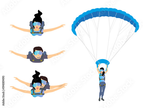 Fototapeta Set of skydivers parachutist characters