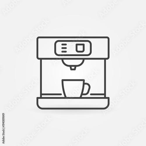 Fotografiet Coffee machine vector line minimal icon
