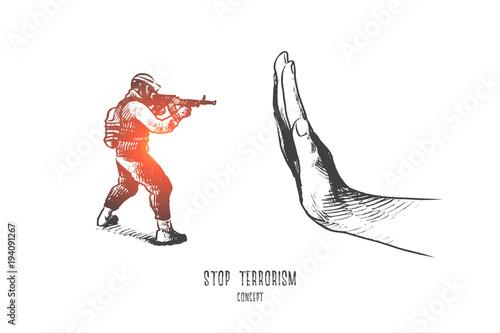 Cuadros en Lienzo Stop terrorism concept