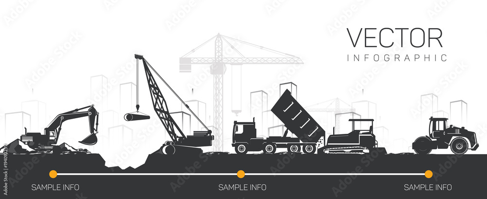 Fototapety, obrazy: Vector heavy construction machinery in the city.