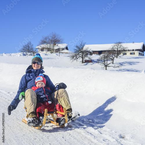 Fotografie, Obraz  Schlittenfahrt in winterlicher Landschaft