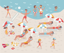 Beach: Cartoon Illustration Of Busy Beach. No Transparency And Gradients Used.