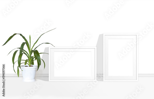 Two blank photo frames mock up and yucca plant in white flower pot two blank photo frames mock up and yucca plant in white flower pot interior decoration mightylinksfo