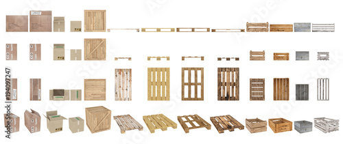 Carta da parati A set of pallets, boxes and cartons