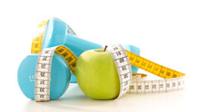 Apple, Dumbbell And Measure Tape