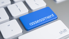 Assessment - Inscription On Blue Keyboard Keypad. 3D.
