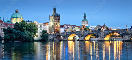 Foto op Canvas Praag Vltava river and Charles bridge by night, Prague, Czech republic