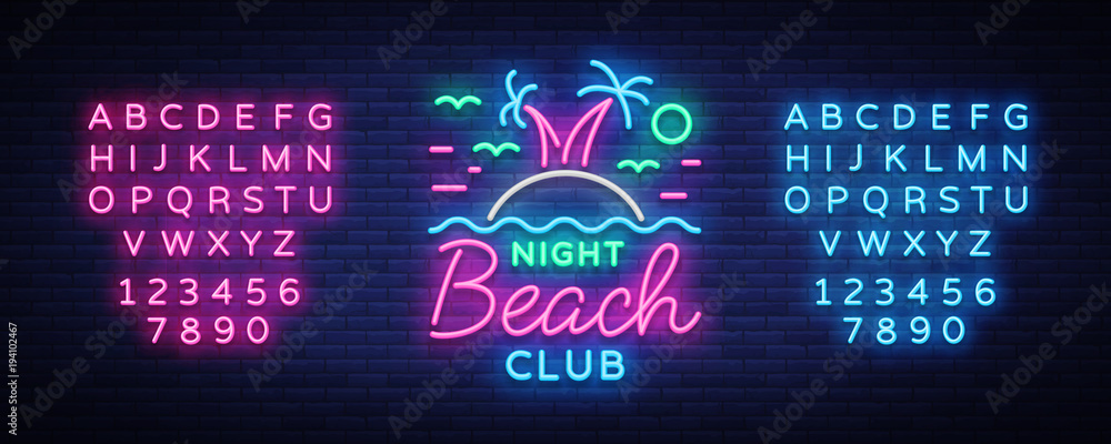 Fototapety, obrazy: Beach nightclub neon sign. Logo in Neon Style, Symbol, Design Template for Nightclub, Night Party Advertising, Discos, Celebration. Neon banner. Summer. Vector illustration. Editing text neon sign